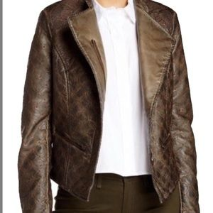 A.B.S. By Allen Schwartz faux leather motto jacket